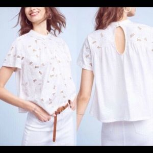 Akemi + Kin White Eyelet Mock Neck Lace Top